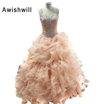 Real photo vestidos de 15 anos spaghetti strap ball gown party dress beadings ruffles organza debutante.jpg 350x350