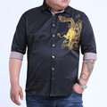 8XL 7XL 6XL LEmbroidery Dragão Camisas Dos Homens do Algodão de Manga Curta Camisa de vestido de Verão Camisa Respirável além de grande tamanho grande Livre pós