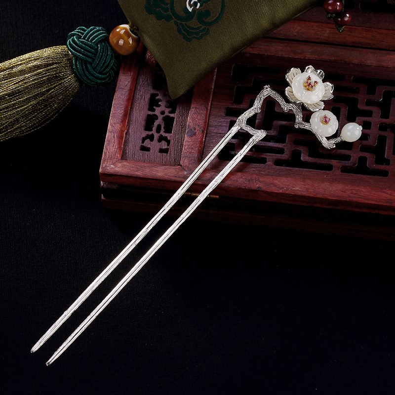 Natural Nephrite Vintage Plum Blossom Flower Hair Stick 925 Sterling Silver Hairpin Personalized Bobby Pin Artistic Accessories natural dry flower nail decoration 60pcs mix 12 color daisy babysbreath plum blossom flower manicure accessories