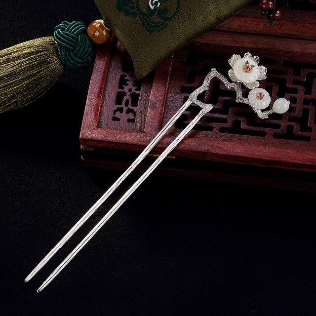 Naturalny nefryt Vintage kwiat śliwy kwiatowa do włosów kij 925 Sterling Silver szpilka wsuwka akcesoria artystyczne