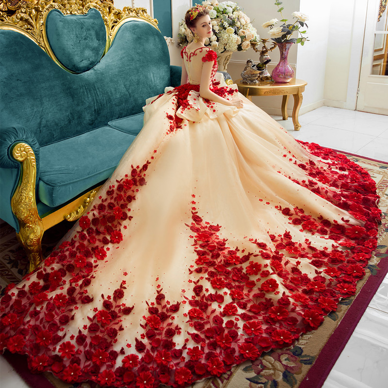 Vestidos Champagne Lace Wedding Dress 2020 Arabic Muslim Bridal Dress Hand Flowers 1M Train Wedding Gowns Robe De Mariee
