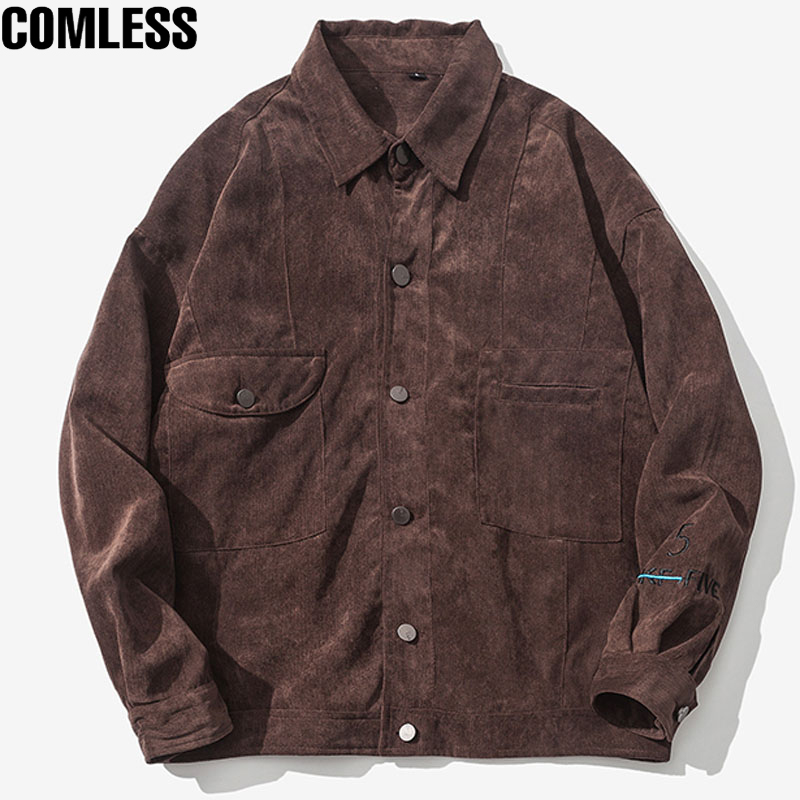 2017 New Spring Corduroy Jacket Men Fashion Sleeve Embroidery Casual Slim Jackets Coats  ...
