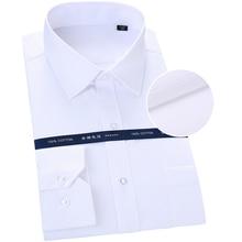 גברים של 100% כותנה סאטן מרקם מוצק שמלת חולצה אחת תיקון כיס רגיל fit ארוך שרוול פורמליות עסקים קל טיפול חולצות