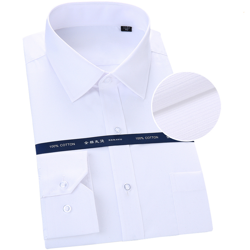 Men's 100% Cotton Sateen Solid Point-Collar Basic Dress Shirt Patch Chest Pocket Regular-fit Non-Iron Easy Care Formal Shirts