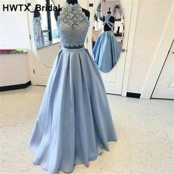 d9876f59f Dos piezas azul claro damas de honor Vestidos para mujeres 2018 nuevo  elegante vestido de fiesta de boda de encaje largo hasta el suelo vestidos  de fiesta ...