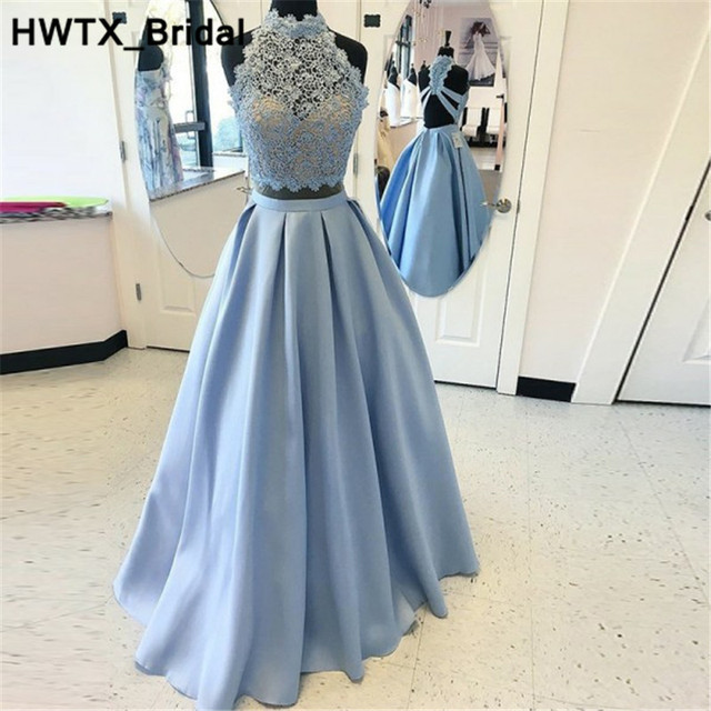 Two Pieces Light Blue Bridesmaids Dresses For Women 2018 New Elegant Lace  Wedding Party Dress Long Floor Length Prom Party Gowns 8107f54c4371