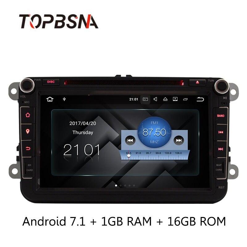 Lecteur DVD de voiture TOPBSNA Android 7.1 pour Volkswagen VW Passat B6 CC b7 Polo MK4 MK5 Golf 4 5 Tiguan Jetta BORA 2 Din GPS Navi RDS