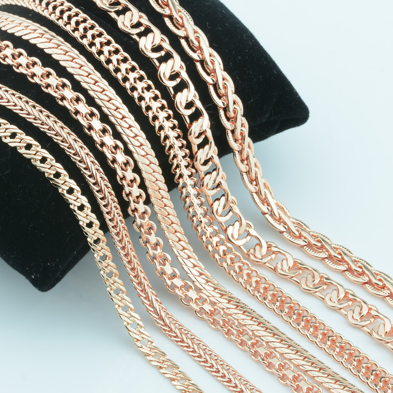 Colar de osso de seringa, colar com 13 estilos para mulheres e homens, 585, rosa, cor dourada, colar, joias de moda, 20 polegadas e 24 polegadas