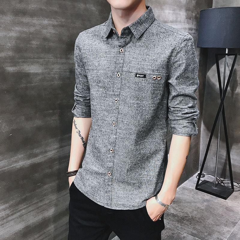 2019 spring new men's shirt Korean version of the self-cultivation youth casual business cotton shirt tide men's boutique shirt 1