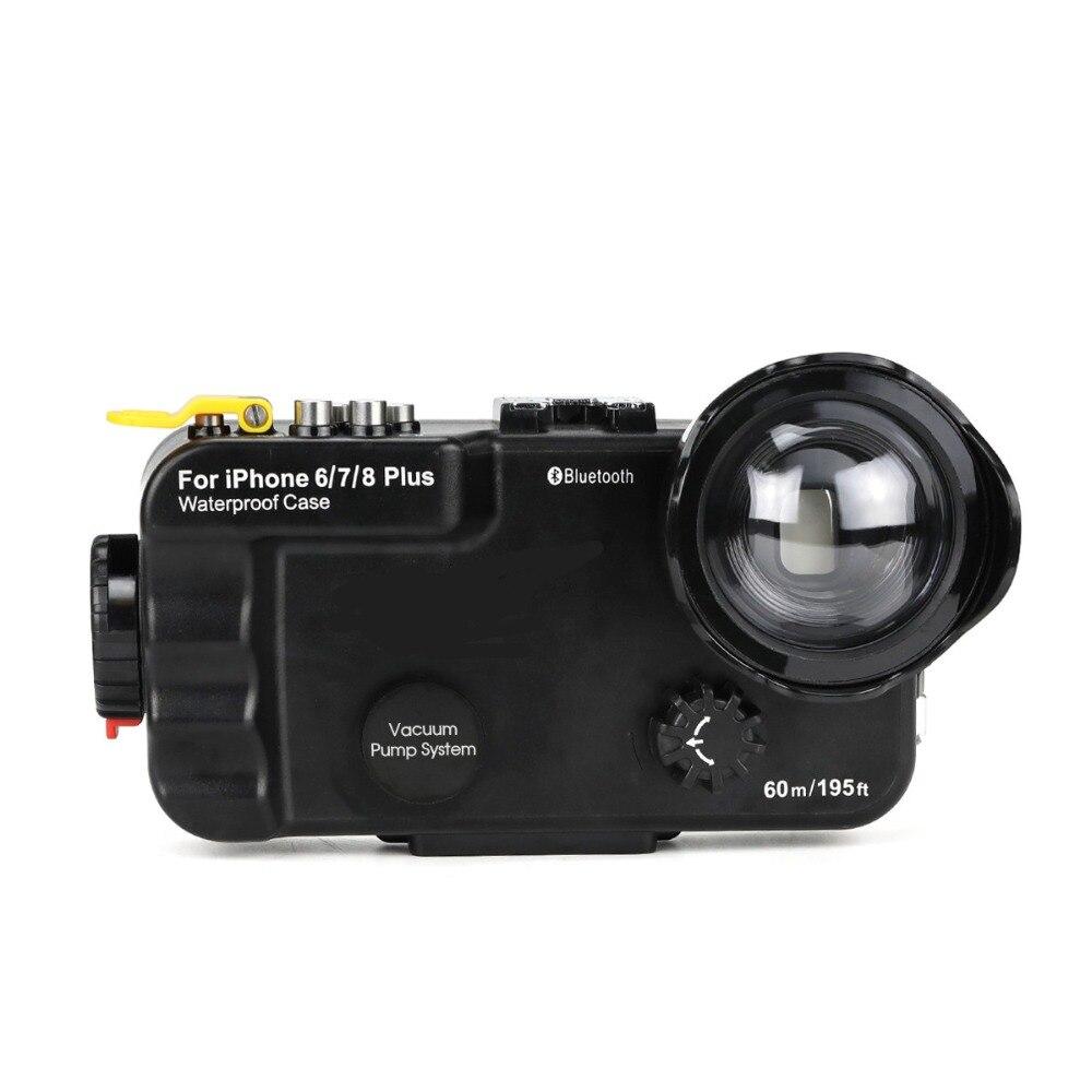 Seafrogs 60 m/195ft Bluetooth Boîtier Étanche Plongée Téléphone Housse Sac Pour iPhone 6/7/8 plus avec Fisheye