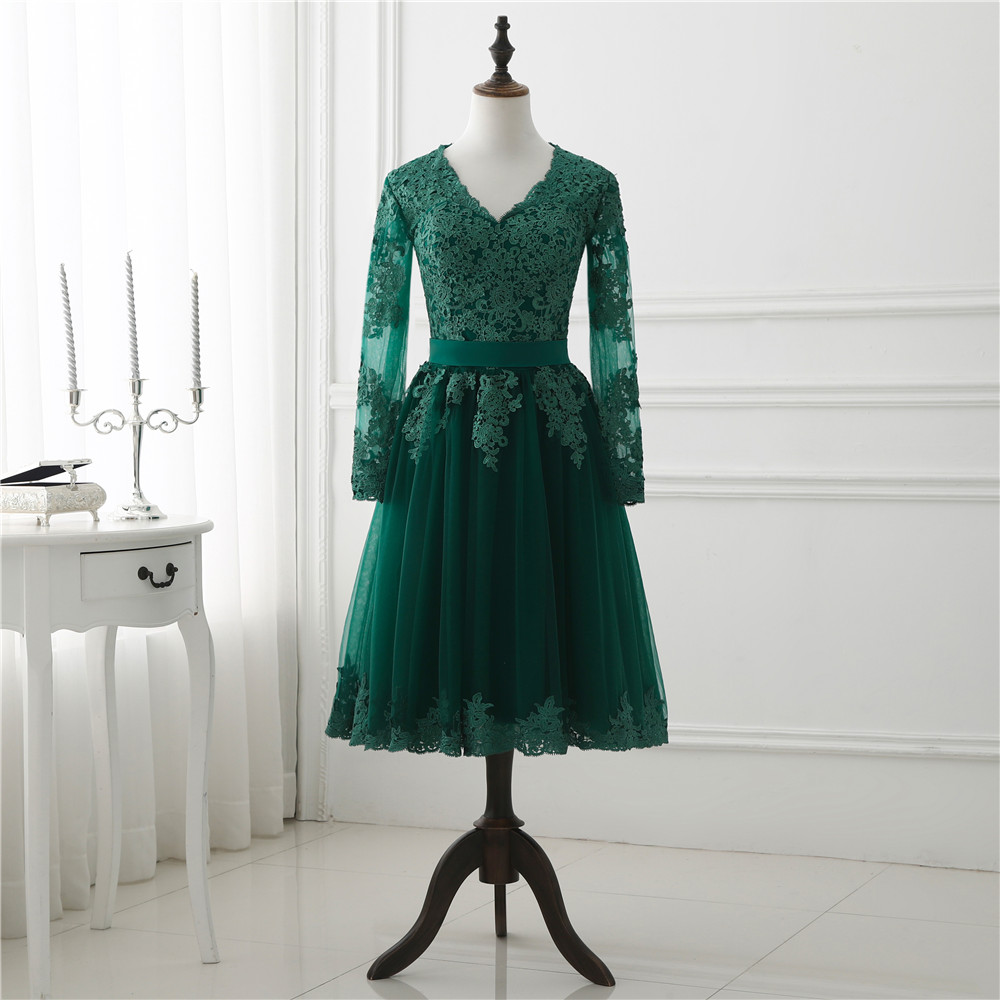 2018 Spring Short Long Sleeve Evening Dress Puffy Champange Tulle Lace Appliqued Woman Prom Dresses Birthday Party Bridal Gown in Evening Dresses from Weddings Events