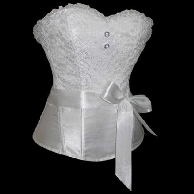 Hot sale plus size satin lace up overbust corset white for Corset bras for wedding dresses