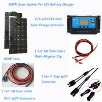 solar system 200w photovoltaic flexible solar panel 100w 2pcs solar pv kit power system station whole solar set for 12V battery