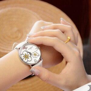 Image 2 - Nowa oferta luksusowej marki zegarka kobiet zegarki zegarek na co dzień mody panie zegar lady zegarek kwarcowy Relogio Feminino kwiat