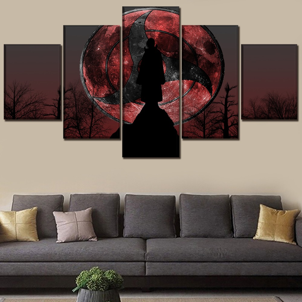modern artwork 5 panel naruto itachi uchiha poster wall. Black Bedroom Furniture Sets. Home Design Ideas