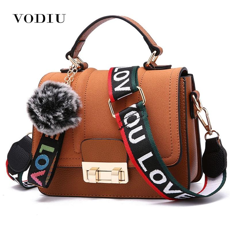 Women Handbags Leather Bag Messenger Shoulder Bag Crossbody Handbag Hair Ball Pendant Flap Women Bags Lock High Quality Simple