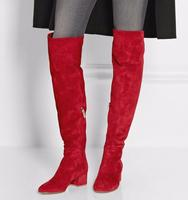 Autumn Newest Red Suede Round Toe Over The Knee Boots 2019 Thick Heels Woman Fashion Boots Winter Long Boots Riding Boots