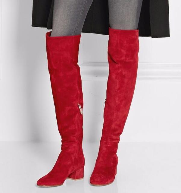 e6b45f2b670 Otoño más reciente red suede punta redonda sobre la rodilla Botas 2017  grueso Tacones mujer moda