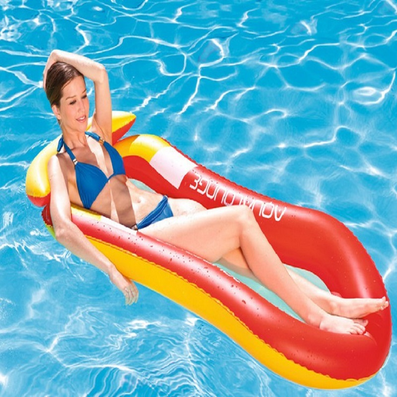 LumiParty PVC Inflatable Water Loungers Floating Row Beach Cushion Bed Swimming Pool Float Toy