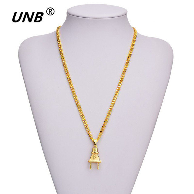 UNB 2017 New Gold-color Electrical Plug Shape Pendants Necklaces Men Women Hip Hop Charm Chains Iced Out Bling Jewelry Gifts 5