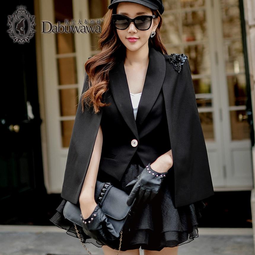 Dabuwawa Ladies Girls Spring New Vintage Black Beading Suit Jacket Women Casual Cloak Cape Blazer Workwear D16AOT001