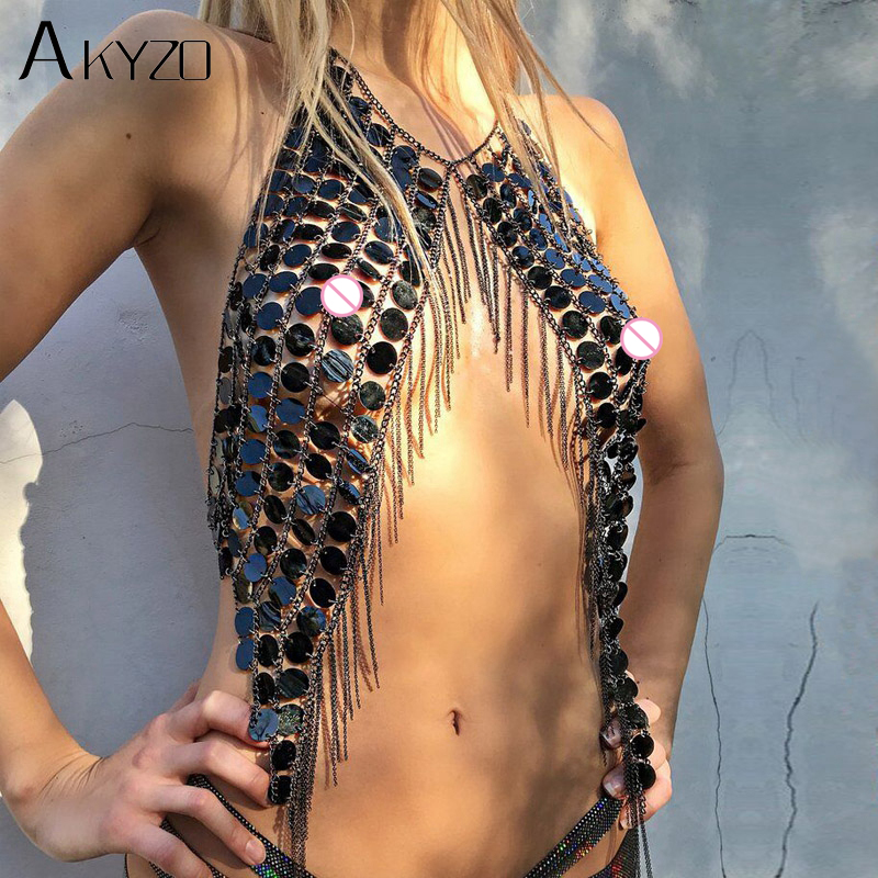 AKYZO Bling Festival Plastic Sequins Crop   Tops   Women Sexy Metal Chain Tassel NightClub Dance Wear Party Burning Outfits   Tank     Top