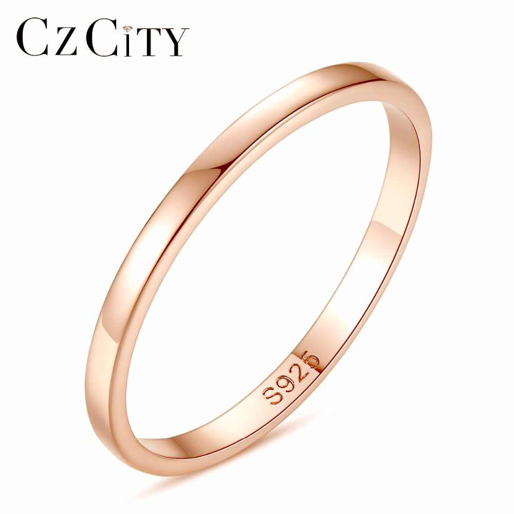 Czcity Women Silver Ring High Polished Wedding Band 925 Sterling Silver Rings Simple Engagement Bague Female Rose Gold Jewelry Jewelry Engagement Ring Jewelry Gold Ringsjewelry Ring Gold Aliexpress
