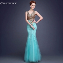 CEEWHY V-Neck Embroidery Robe De Soiree Lace Evening Dresses Long Mermaid Dress Elegant Crystal Evening Gown Kaftan Abendkleider