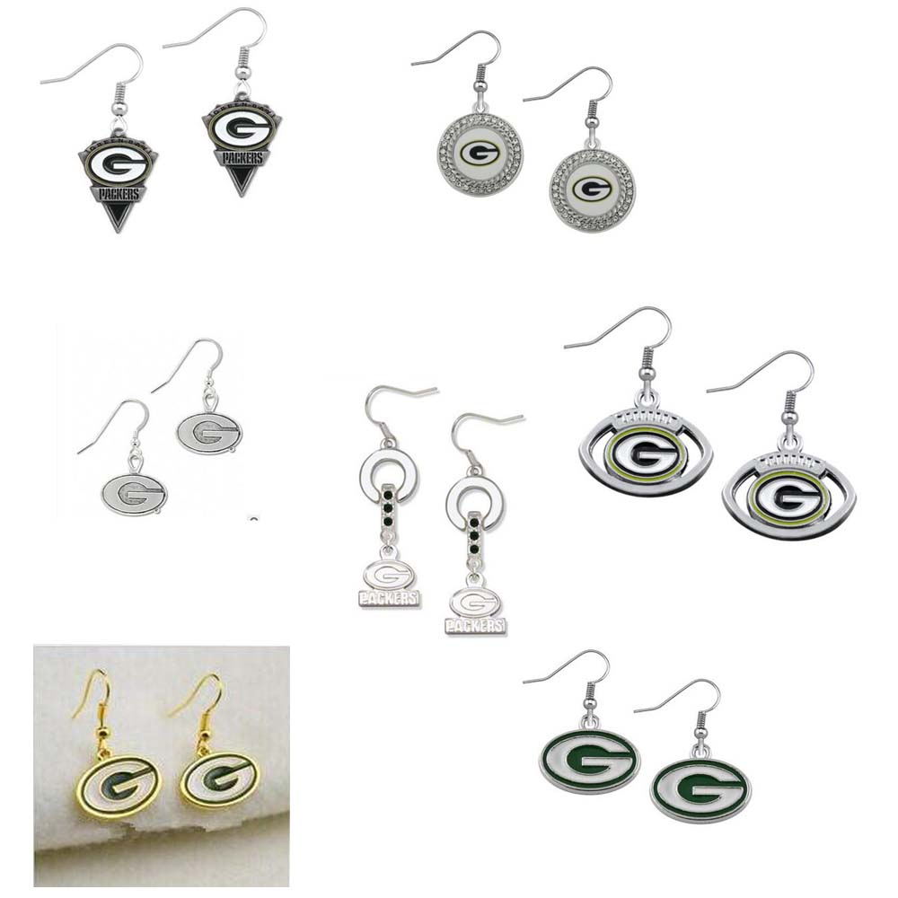 5 Pairs Football Fans Earrings Enamel American Football Green Bay Packers  Charm Drop Earrings bb7550447c2af