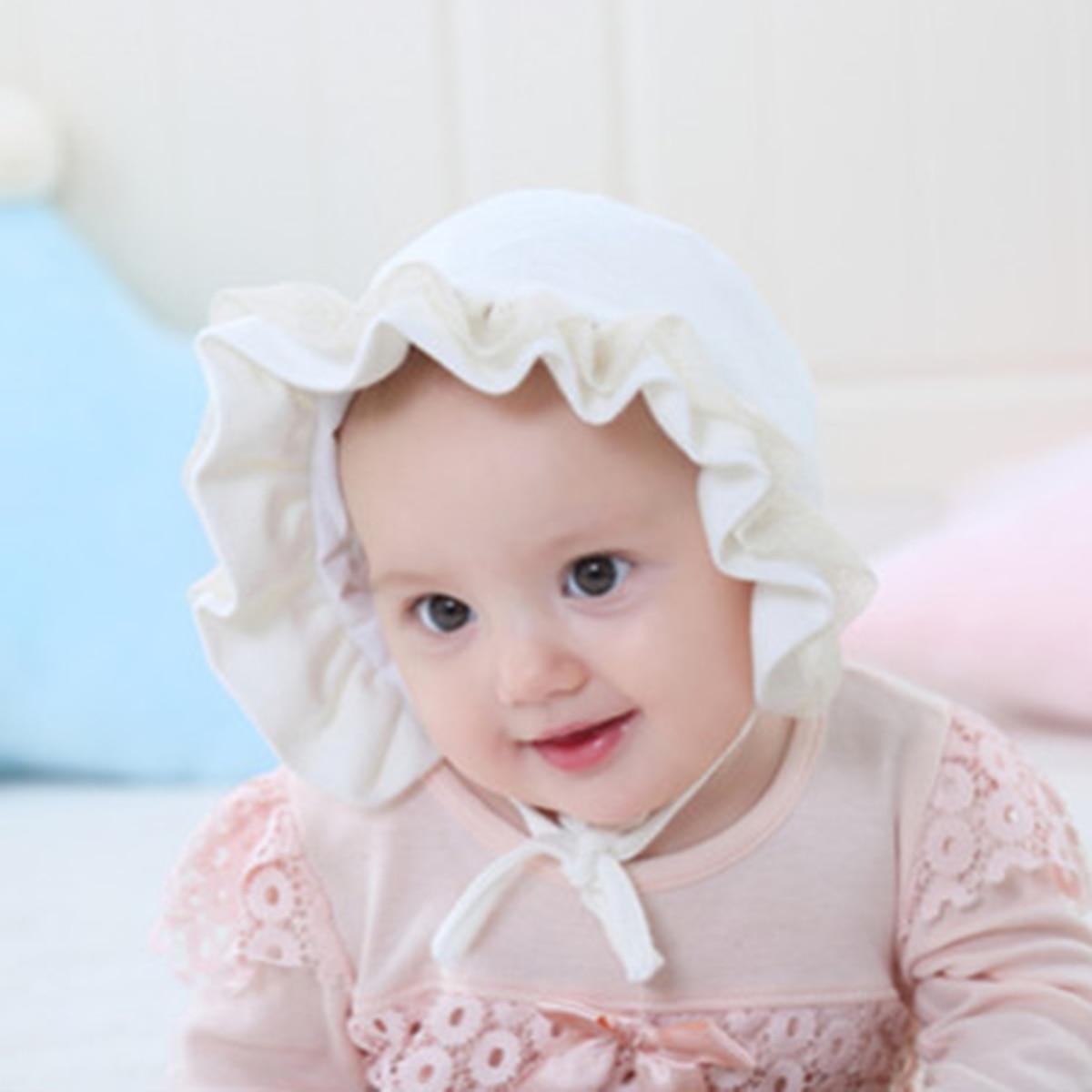 Baby Cap Newborn Girl Cute Cotton Hat Lace Pink Soft White Adjustable Princess