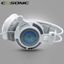 100% Cosonic профессиональный игровой гарнитуры 7.1 Surround Sound свет функция вибрации usb Игровые наушники для PC Gamer