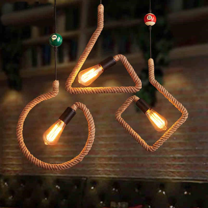 Loft American industrial bar linen rope retro wrought iron creative personality lamp cafe color pendant lights rope light GY169 loft vintage industrial pendant lights creative personality clothing store bar internet cafe wrought iron letter lamp za911723