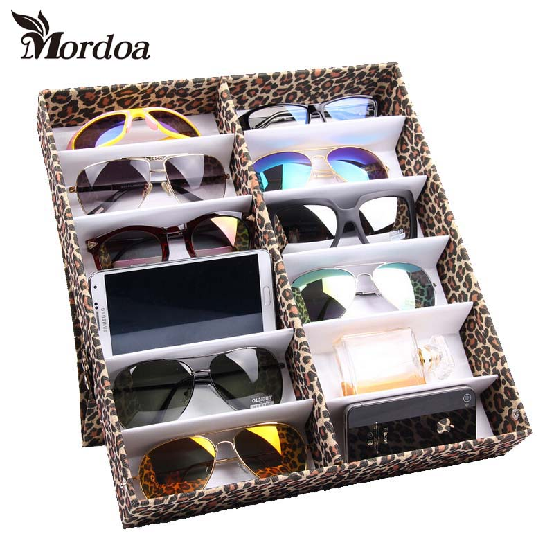 Quality Glasses Storage Box/Rack Leopard Grain Oxford Sunglasses Display Sunglass Organizer Eyewear Storage Usage 12 Compartment leopard frame sunglasses