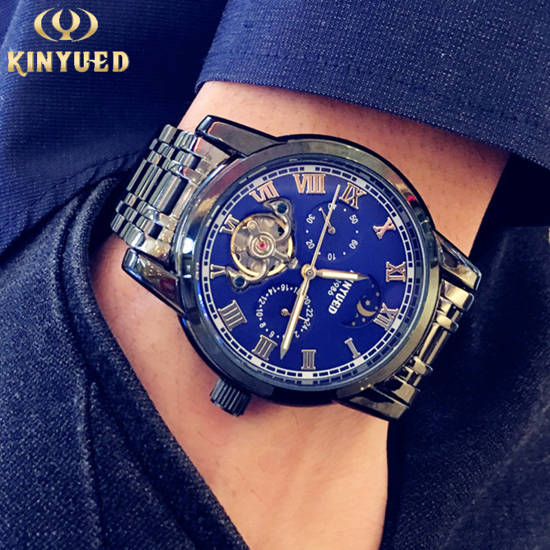 KINYUED Luxury Brand Tourbillon Automatic Mechanical Watch Men Genuine Stainless Steel Waterproof Luminous Multi-function WatchKINYUED Luxury Brand Tourbillon Automatic Mechanical Watch Men Genuine Stainless Steel Waterproof Luminous Multi-function Watch