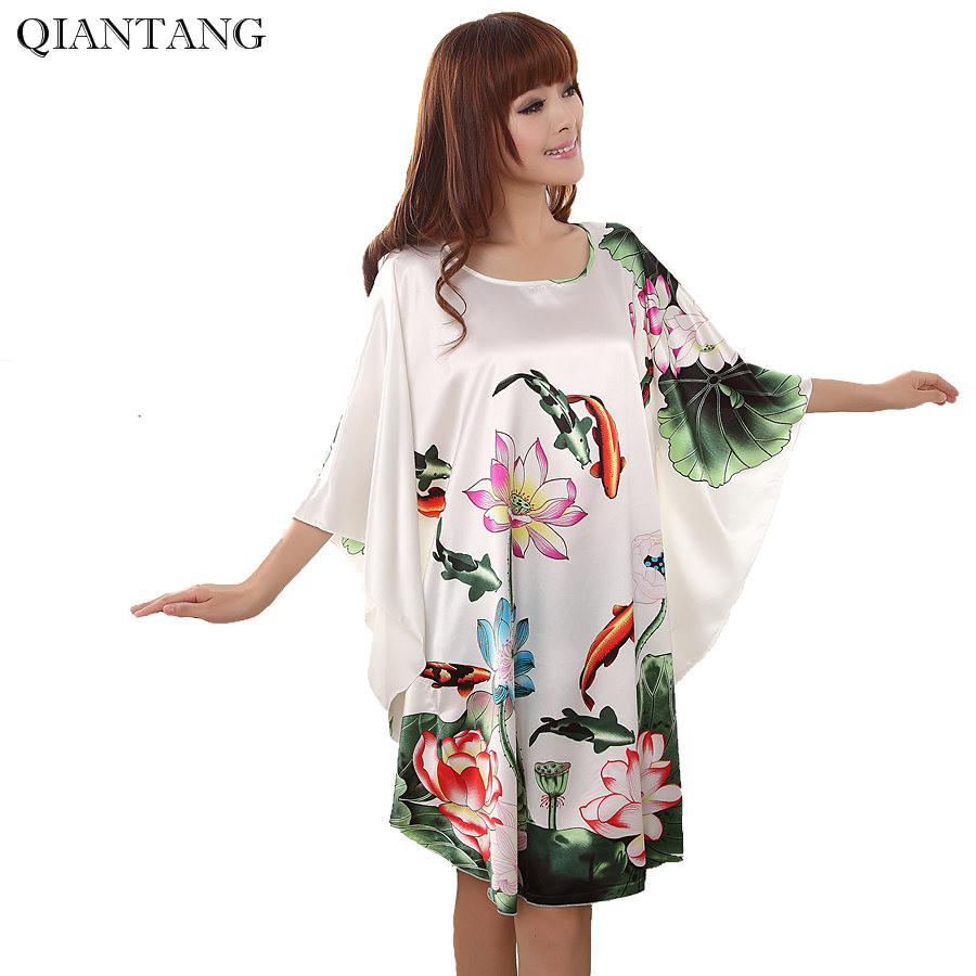 Plus Size Fashion Women Bath Robe Nightgown Pijama Mujer Printed Design Female Rayon Nightdress Summer Night Gown Zh565X