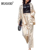 RUGOD Korean Style Thin Cotton Linen Pants Suit Women Casual 2 Two Piece Set Female Long Sleeve Jacket and Pants Trousers Suits
