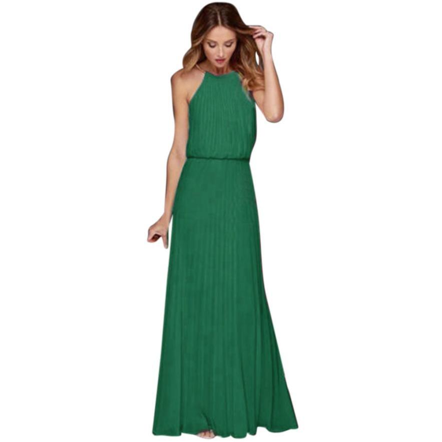 Feitong 2018 Womens Formal Sexy Chiffon Backless Sleeveless Prom Evening Evening Party Long Maxi Dress