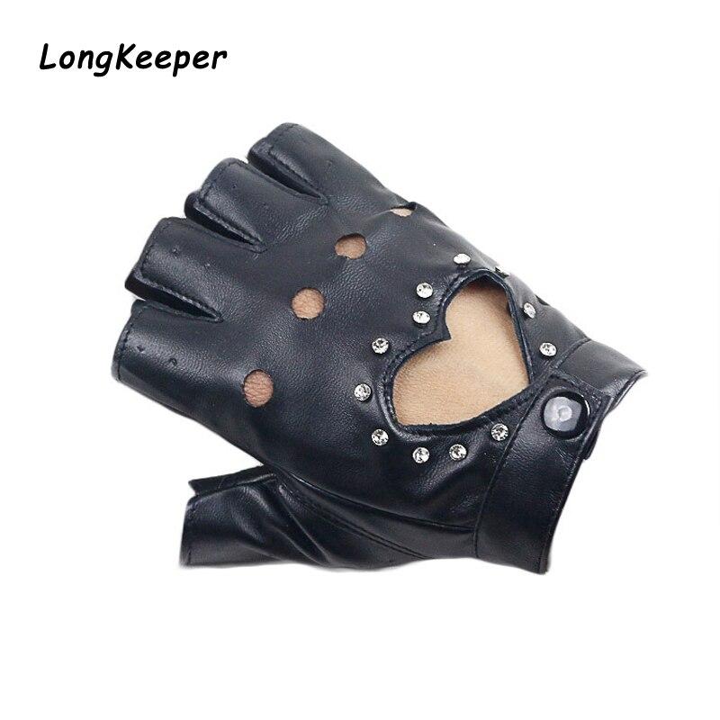 Long Keeper Fashion Women Fingerless Driving Gloves PU Leather Half Finger Gloves For Women Black Pink Blue Black Gloves Luvas