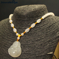 Guilin Chicken Blood Natural Stone Necklace Laughing Buddha Pendant Lucky for Women Men Hand Made Sweater Chain Necklace Jewelry