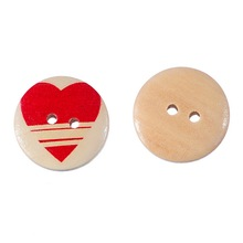 50PCs Wooden Buttons Red Heart Fit Sewing DIY Scrapbooking 20mm Decorative Buttons 2-Hole for clothing sewing