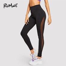 a4ebd618e9 Romwe Sport Black Solid Wide Waist Mesh Insert Sheer Tights Women 2019  Exercise