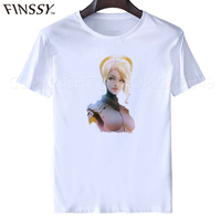 Cartoon Game Character OW T Shirt Ow Fans Shirt MERCY T Shirt Heroes Never Die High
