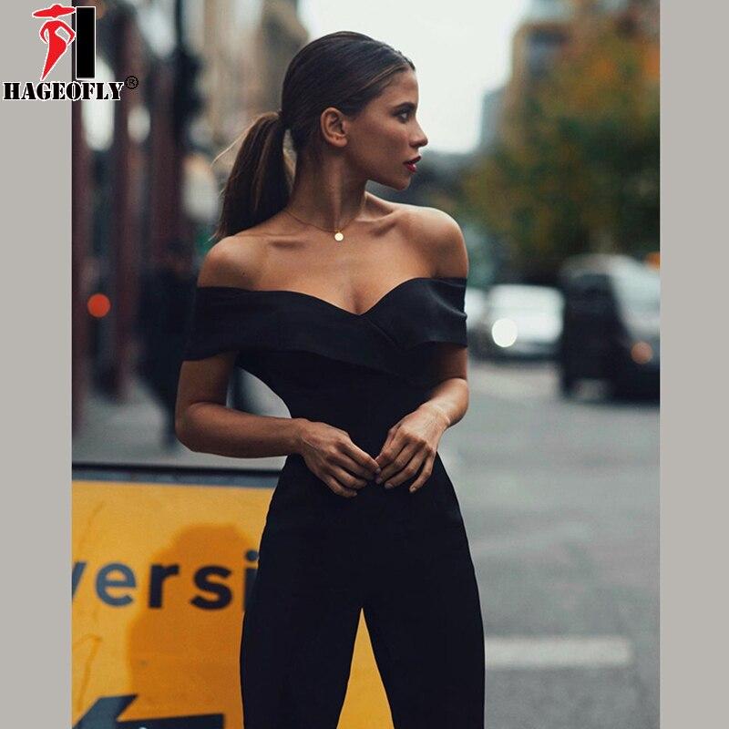 HAGEOFLY 2018 Black Women Jumpsuits Sexy Off Shoulder Slash Neck Full Length Bodycon Lady Bodysuits Fashion Jumpsuits Female red sexy bodycon round neck cold shoulder jumpsuits