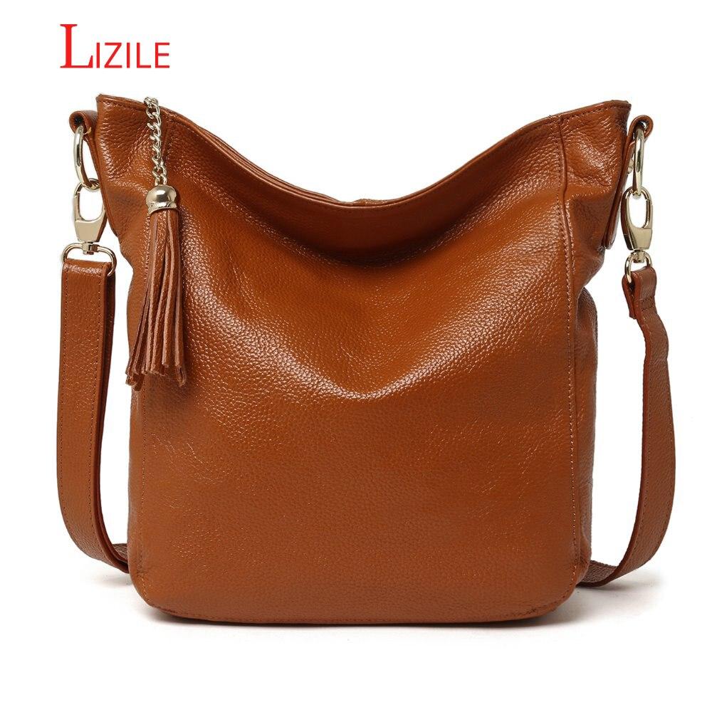 Fashion Genuine Leather Women's Handbag Messenger Polyester Cowhide Women's Single Strap Shoulder Casual Bag Brown Color