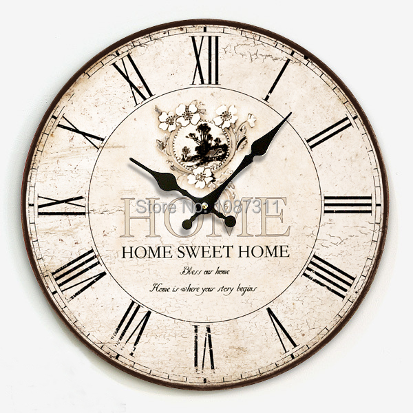Fashion Vintage Silent Clock Wall Fashion Rustic Large Wall Clock Table Watch Wall Clock Free