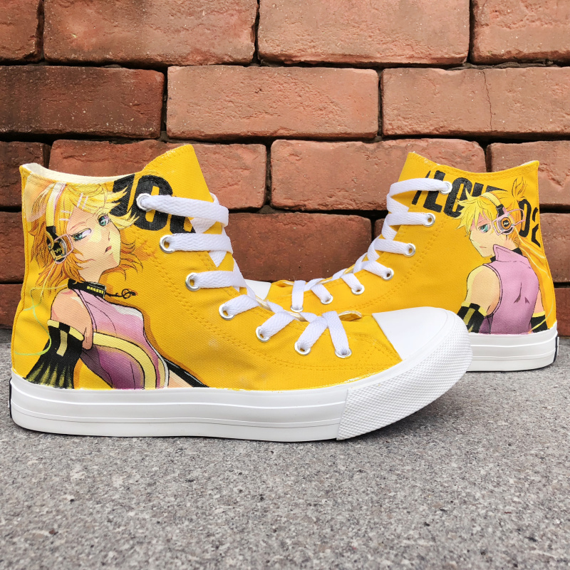 Wen Man Woman's Anime Sneakers Hand Painted Shoes Design Hatsune Miku VOCALOID Canvas Plimsoll Gym Trainer Laced Footwear women men converse all star canvas shoes vocaloid hatsune miku expo design hand painted sneakers skateboarding shoes gifts