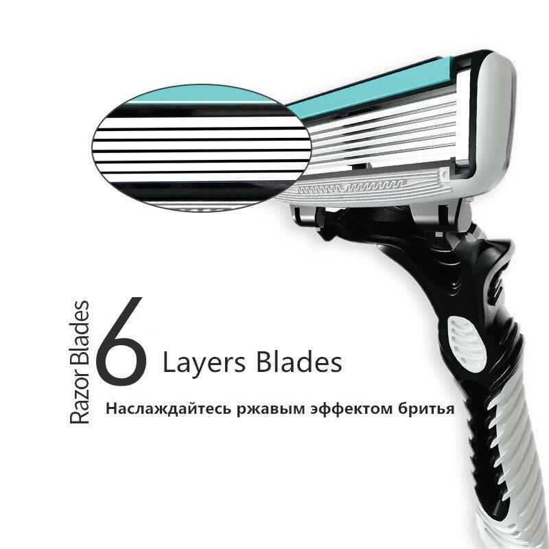 מקצועי 3 יח'\אריזה באיכות גילוח מכונת 6-שכבה בטיחות סכיני גילוח ידני גילוח מכונת גילוח פנים טיפול זקן שיער מסיר