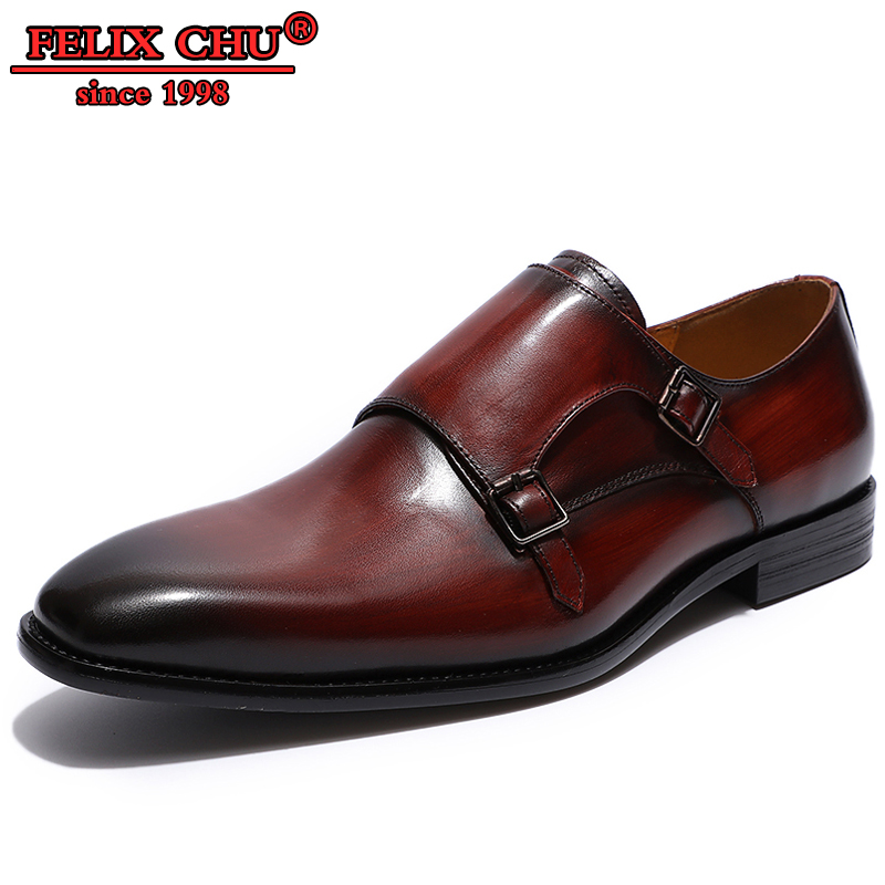 Handmade Business Office Shoes Wedding Suit Dress Loafers Burgundy Black Shoes Luxury Double Buckle Formal Leather Men Shoes in Formal Shoes from Shoes