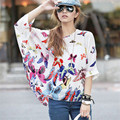 2017 summer new chiffon bats sleeves exotic butterfly pattern coat loose large size shirt