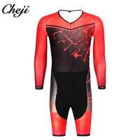 CHEJI Новый шаблон для мужчин скафандр одежда с длинным рукавом сжатия низкий воротник Гонки Велоспорт Италия ткань